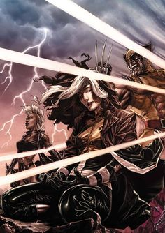 Rogue, Storm, and Wolverine by Lee Bermejo *