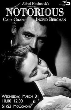 """Notorious,"" an Alfred Hitchcock classic with Ingrid Bergman and Cary Grant Golden Age Of Hollywood, Hollywood Stars, Classic Hollywood, Old Hollywood, Hollywood Glamour, Ingrid Bergman, Hitchcock Film, Alfred Hitchcock, Cary Grant"