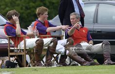Prince William, Prince Harry And Prince Charles Are Playing On The 'highgrove' Team For The Dorchester Polo Trophy To Raise Funds For The British Wheelchair Sports Foundation And The Tetbury Hospital Trust At Cirencester Polo Club. They Are Resting Between Chukkas.