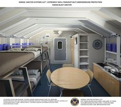 The Military Shelter comes with cabinets, a pantry, a sofa, bunk beds and mattresses, wall partitions around the bathroom and shower, a pressurized generator room (at back of photo) and in-wall storage.