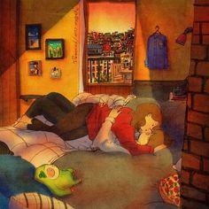 Seu cabelo era cócegas na minha cara. E nós nos beijamos por um tempo. Veja a ilustração: grafolio.com/works/180676