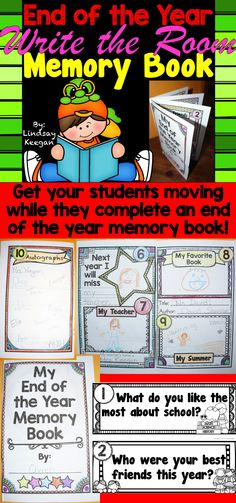 This is a perfect activity for antsy kids at the end of the school year.  It combines a write the room activity with a school year memory book.