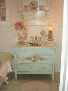 Beautiful shabby chic French Provencial dresser/vanity #shabbychicbathroomsvanity
