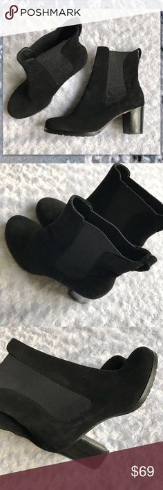"""COLE HAAN BLACK SUEDE BOOTS Amazing chic black boots. Feels/smells like suede. Elastic panel inserts on both sides for Comfort and easy on/off. Heel 2.5""""  Make your outfits -AMAZING!! Cole Haan Shoes Ankle Boots & Booties"""