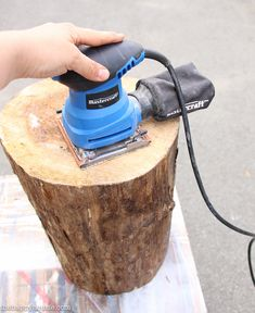DIY Rolling Stump Outdoor Side Table or Stool tutorial at the happy housie-2
