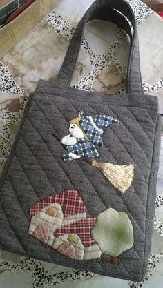 tote bag, shoulder bag , quilt bag , fabric  bag by Munkongshop on Etsy