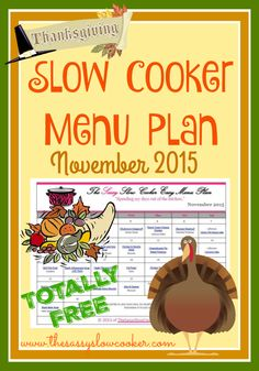 Celebrate Thanksgiving with family, spend less time in the kitchen by planning your meals. Get our FREE Slow Cooker Family Friendly Menu Plan for November. Crock Pot Food, Crock Pot Slow Cooker, Slow Cooker Recipes, Monthly Meal Planning, Menu Planning, Crockpot Recepies, Crockpot Ideas, Recipe Organization, Household Organization