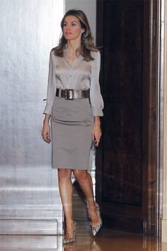 Gray Belted Pencil Skirt Gray Satin Blouse and High Heels