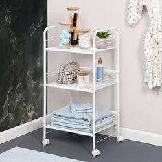 3 Drawer Storage, Rolling Storage Cart, Rolling Carts, Storage Caddy, Bathroom Cart, Bathroom Ideas, Stackable Shelves, Cabinet Space, Decorative Storage