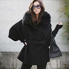 De las mujeres de imitación de piel de zorro abrigo de lana - USD $ 45.49