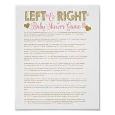 Gold Glitter Baby Shower Left Right Story Game Poster - baby shower ideas party babies newborn gifts Easy Baby Shower Games, Simple Baby Shower, Baby Shower Fall, Fall Baby, Boy Shower, Baby Shower Game Gifts, Baby Shower Sayings, Prizes For Baby Shower, Baby Shower Games For Large Groups