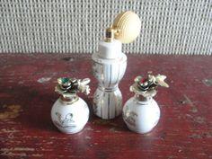 Irice, perfume set, atomizer & 2 bottles, hand painted