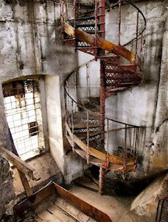 Vintage industrial metal spiral staircase Repinned by www.silver-and-grey.com