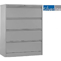 Silverline M:Line Side Filing Cabinets - Designed for the modern open plan office where space can be at a premium. FIRA certified, Free UK mainland delivery on Silverline M:Line Side Filing Cabinets. Filing Cabinets, Cabinet Design, Dresser, Metal, Furniture, Home Decor, Powder Room, Decoration Home, Room Decor