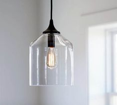 Kitchen Lighting Ideas Pottery Barn City Glass Pendant - A simplified update on a classic, this clear-glass pendant is designed to amplify light while minimizing visual space. It fits well in any room, and is ideal for smaller areas of the home. Farmhouse Pendant Lighting, Kitchen Pendant Lighting, Kitchen Pendants, Glass Pendants, Island Pendants, Pottery Barn Pendant Lights, Industrial Lighting, Pottery Barn Lighting, Farmhouse Kitchen Lighting
