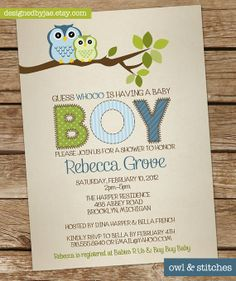 Baby Boy Shower Invitation Owl  Owls Invitation  by DesignedByJae