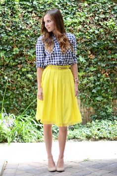 Gingham and a yellow a-line skirt: One of my favorite outfits.