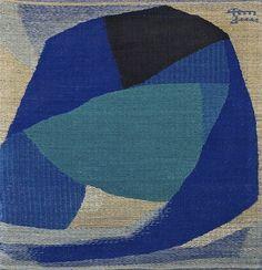 "DORA JUNG (1906–1980) Finland - ""abstract blue"" linen tapestry"