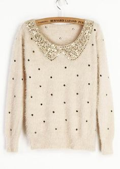 Ivory Vintage Polka Dot Sequins Collar Fluffy Jumper Sweater. Cute with black skirt and tights for the holidays!
