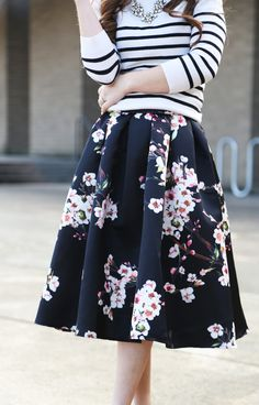 Striped top and a flared floral skirt. #bloggers #outfit #inspiration