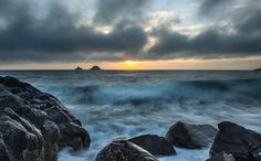Porth Nanven, Cornwall, Sunset   One second exposure as the sun sets by the Brisons, Cornwall…  For more check out my website at david Bridgwater photography  Camera Nikon D800/Lee Filters Tripod and head: Legs Manfrotto MT055CXPRO3                                 Head Manfrotto MHXPROBHQ2 Landscape Photographer: David Bridgwater