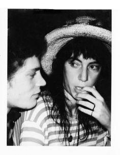 Polaroid of Patti Smith & Robert Mapplethorpe by Andy Warhol