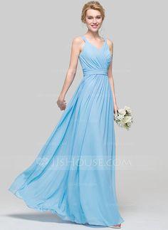 [CA$ 146.95] A-Line/Princess V-neck Floor-Length Chiffon Bridesmaid Dress With Ruffle Bow(s) (007090187)