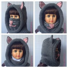 CAT HOODED COWL Crochet Pattern  great  protection for ears mouth and nose  for babies toddlers children teens and adults  by nuttypatterns