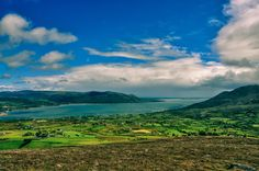 Mourne Mountains and Carlingford Lough taken from The Cooley Mountains in Co Louth.
