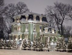 Victorian homes in Winter.