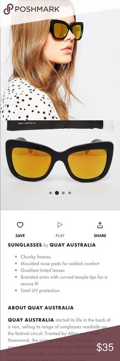 Quay Breath of Life Sunglasses. Cat Eye. Brand New Quay Breath of Life sunglasses.  Chunky black frames with gold mirror lenses. Brand new, never worn. Comes with case. I'm only selling because I have a pair already-- which I love!  ⚡️Limited time listing!⚡️ Quay Australia Accessories Sunglasses