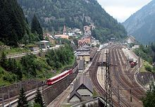 Göschenen railway station at near the entrance to the Gotthard tunnel