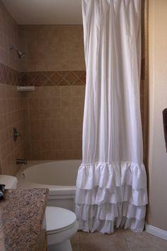 Four Ruffles Shower curtain by SelahJamesHandmade on Etsy, $100.00