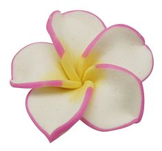 Handmade Polymer Clay Plumeria Beads, Flower, Ivory, about 34mm in diameter, 11mm thick, hole; 1mm