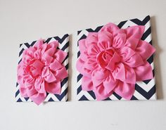 """TWO Wall Flowers -Pink Dahlia on Navy and White Chevron 12 x12"""" Canvas Wall Art- 3D Felt Flower on Etsy, $66.00"""