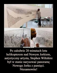 After only a 20 minute helicopter ride over New York City, autistic artist, Stephen Wiltshire was able to draw the New York skyline, in pen, just from memory. Memes Humor, Funny Jokes, Hilarious, Funny Dating Quotes, Flirting Quotes, Dating Memes, Dating Tips, Autistic Artist, Haha