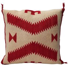Amazing Geometric Red & Cream Navajo Weaving Pillow   From a unique collection of antique and modern native american objects at http://www.1stdibs.com/furniture/folk-art/native-american-objects/