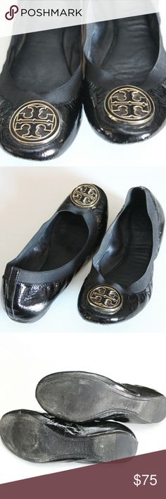 Tory Burch Caroline 8.5 worn Worn pair of Caroline shoes, no box , shoes are in fair condition just bottoms are really worn out to some extent (see pics), size 8.5 womans, please ask questions if interested, I am also willing to provide more pictures if requested, have a nice day and thanks for your interest Tory Burch Shoes Flats & Loafers