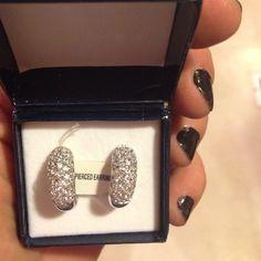 Costume pierced earrings Silver toned rhinestones NIB Jewelry Earrings