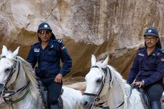 Relaxed police officers in Petra, Jordan ⠀ ⠀ ⠀