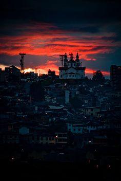 Sunset over Manizalez, Caldas, Colombia