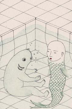 Harriet Lee Merrion is an illus­tra­tor based in Bris­tol, UK. Her illustrations have a thoughtful, hand-made feel, capturing dilemmas of the body and mind in. Illustrations, Illustration Art, Image Of Fish, Art Inspo, Photo Art, Cool Art, Mermaid, Sketches, Inspiration