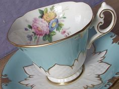 Antique Robin's Egg Blue tea cup and saucer, Paragon tea cup, blue and white…