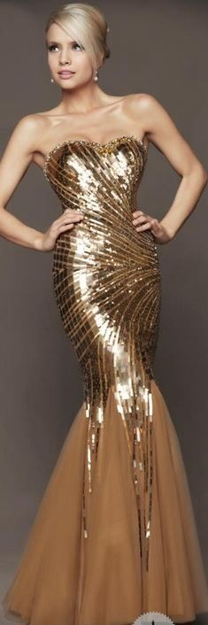 MacDuggal Mermaid Strapless Gold