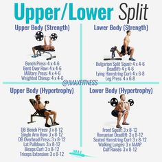 UPPER/LOWER SPLIT MUSCLE WORKOUT by @jmaxfitness - Check out the link in my bio for your free DecemBULK workout. - After you've gained your first 20-30lbs of muscle it's time to move on from a full body routine to an upper/lower split. - The beauty of the Upper/Lower Split is you can start to use Daily Undulating Periodization or Non-linear Periodization to build strength and size. - The first half of the week is geared towards getting stronger in the 4-8 rep range. Strength builds muscle…