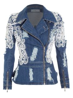 / embellished denim jacket / Home decor Jeans Bleu, Mode Jeans, Gilet Jeans, Jeans Recycling, Denim Fashion, Fashion Outfits, Look Blazer, Denim Ideas, Altered Couture
