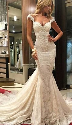 Delicate Tulle & Lace Sweetheart Neckline Mermaid Wedding Dresses With Lace Appliques