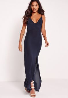 every girl should have at least one seductive slinky dress in their wardrobe and this one needs to be yours. in a flawless slinky fit With V- neckline, Front split and maxi length, you'll be lookin' heart-stopping. the navy hue is perfect...