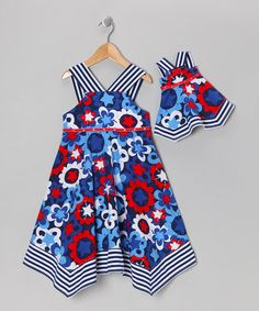 {Blue & Red Daisy Dress & Doll Outfit - Girls by Dollie & Me} *Cute for Independence Day!