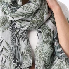 Ladies' Green leaf print scarf, by Style Slice, features a decadent jungle pattern. Elegant spring or summer shawl that can be personalised with a charm or a monogram. Suitable as a gift for anniversary, birthday or any day in which to tell the woman in your life, be it a Mum, Wife, Sister or Girlfriend, that she is special. #scarf #shawl #wrap #scarves #fashion #vintage #handmade #acessories #etsy #gift #paradise #palmtree #headwrap #ootd #tropical